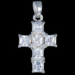 Prívesok strieborný, CZ, kríž