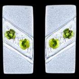 Náušnice s kameňom - Náušnice strieborné,  CZ, obdĺžnik