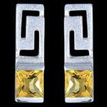 Náušnice s kameňom - Náušnice strieborné, CZ, grécky vzor