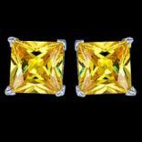 Náušnice s kameňom - Náušnice strieborné, CZ, štvorce