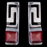 Náušnice s kameňom - Náušnice strieborné, grécky vzor