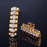 Náušnice s kameňom - Náušnice strieborné, s kryštálmi, elegantné