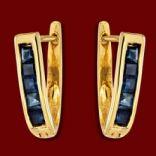 Diamantové náušnice - Náušnice zlaté,  modrý zafír, elegantné