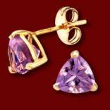 Diamantové náušnice - Náušnice zlaté, ametyst