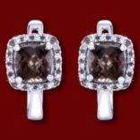 Diamantové náušnice - Náušnice zlaté, diamanty, záhneda