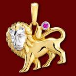Diamantové prívesky - Prívesok zlatý, rubín, lev