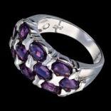 Prstene s kameňmi - Prsteň strieborný • fialový ametyst, mozaika