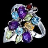 Prstene s kameňmi - Prsteň strieborný, ametyst, granát, peridot, citrín, topás