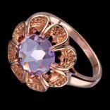 Prstene s kameňmi - Prsteň strieborný, ametyst, kvet