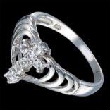 Prstene s kameňmi - Prsteň strieborný, biele topásy
