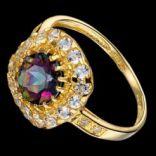 Prstene s kameňmi - Prsteň strieborný, biely a mystický topás
