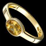 Prstene s kameňmi - Prsteň strieborný, citrín