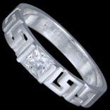 Prstene s kameňmi - Prsteň strieborný, CZ, grécky vzor