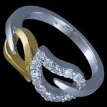 Prstene s kameňmi - Prsteň strieborný, CZ, lupene