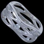 Prstene s kameňmi - Prsteň strieborný, CZ, obrúčka prepletaná