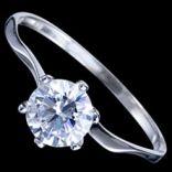 Prstene s kameňmi - Prsteň strieborný, CZ, obrúčka