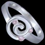 Prstene s kameňmi - Prsteň strieborný, CZ, slimák
