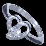 Prstene s kameňmi - Prsteň strieborný, CZ, srdiečko