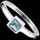 Prstene s kameňmi - Prsteň strieborný, CZ, štvorec