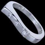 Prstene s kameňmi - Prsteň strieborný, CZ, vlnovka