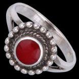 Prstene bez kameňov - Prsteň strieborný, emailový, kvietok