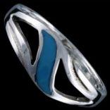 Prstene s kameňmi - Prsteň strieborný, emailový, vlnka