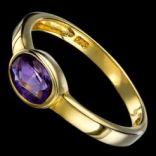 Prstene s kameňmi - Prsteň strieborný, fialový ametyst, s očkom