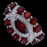 Prstene s kameňmi - Prsteň strieborný, granát