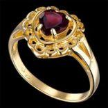 Prstene s kameňmi - Prsteň strieborný, granát, srdce