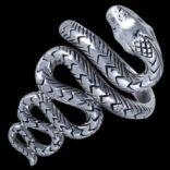 Prstene bez kameňov - Prsteň strieborný, had