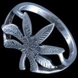 Prstene bez kameňov - Prsteň strieborný, list