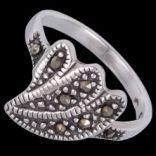 Prstene s kameňmi - Prsteň strieborný, markasit, kvet