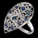 Prstene s kameňmi - Prsteň strieborný, modrý zafír, ornament