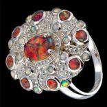 Prstene s kameňmi - Prsteň strieborný, ohnivý opál, viktoriánsky štýl