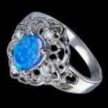 Prstene s kameňmi - Prsteň strieborný, opál, CZ
