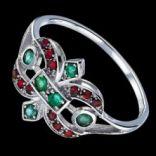 Prstene s kameňmi - Prsteň strieborný, smaragdy, opály
