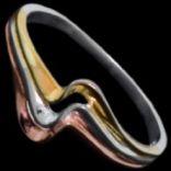 Prstene bez kameňov - Prsteň strieborný, vlnka, pozlátený
