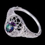 Prstene s kameňmi - Prsteň strieborný, zelený mystický topás