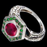 Prstene s kameňmi - Prsteň strieborný, zelený opál, rubín, art deco