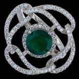 Prstene s kameňmi - Prsteň strieborný, zirkón, aventurín, kvet