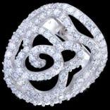 Prstene s kameňmi - Prsteň strieborný, zirkón, kvet
