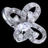 Prstene s kameňmi - Prsteň strieborný, zirkón, motýľ