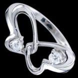 Prstene s kameňmi - Prsteň strieborný, zirkón, motýlik
