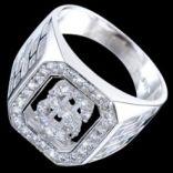 Prstene s kameňmi - Prsteň strieborný, zirkón, pečatný