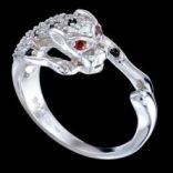 Prstene s kameňmi - Prsteň strieborný, zirkón, puma