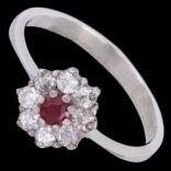 Prstene s kameňmi - Prsteň strieborný, zirkón, rubín