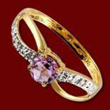 Diamantové prstene - Prsteň zlatý, ametyst, diamanty