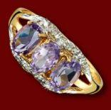 Diamantové prstene - Prsteň zlatý, ametysty, diamanty