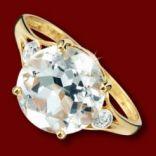 Diamantové prstene - Prsteň zlatý, biely topás, diamanty