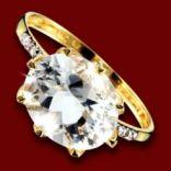 Diamantové prstene - Prsteň zlatý, biely topás, diamanty, zásnubný
